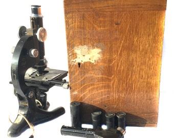 Antique Beck of London Model 29 Microscope + Original Oak Case Vintage Microscope Optical Scientific Laboratory Equipment Science Lab