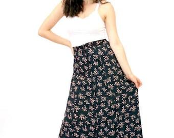 20% OFF SALE 80's Vintage Granny Skirt, Midi Floral Skirt, Long Flower Print Skirt