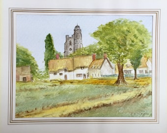 Countryside Painting Cottages and Church by R.E.T Couch 1980s watercolor Original Art Home Decor