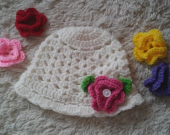 Baby Cloche Hat with 5 Flowers, Baby Spring Hat