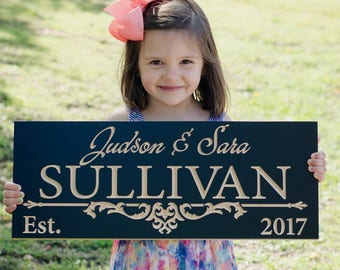 Family Name Sign, Personalized Last Name Wood Sign, Custom Wedding Sign, Custom Date Sign, Benchmark Custom Signs, Maple IG
