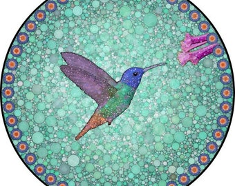 """Hummingbird Art Print, Mandala Art, Bird Print, Circle Print, """"Hummingbird Bubblewheel"""""""