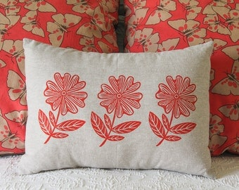 Hand Printed Pillow Cover with Insert, Red Flowers, 12x16, Home Decor, Red--Made to Order