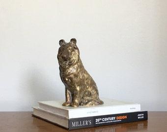 Vintage Brass Dog Figurine Collie Statue Bookend Cast Brass Rustic Chic Decor