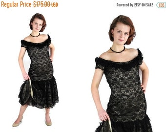 On Sale 50s Sommers Herbert Dress  Pin Up Party Lace Black Vintage Wedding