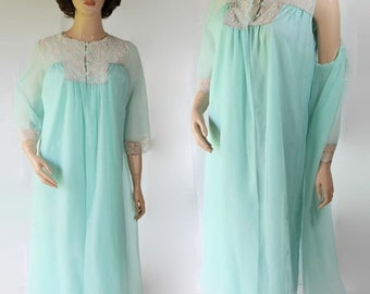 40%OFFSALE 60s Dena Peignoir Negligee Lingerie Mad Men Betty Draper Blue Night Gown