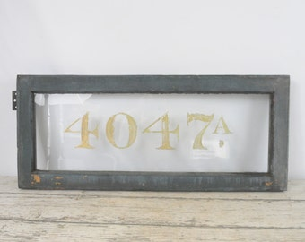 Antique Wood Transom Window With Number Address Architectural Salvage Wood Window