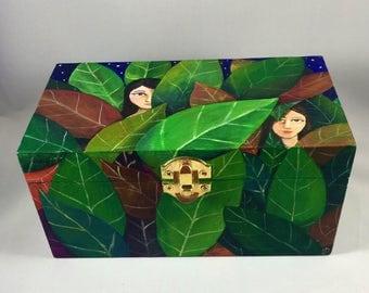 In The Foliage - Decorative Handpainted Wood Box - Original Artwork