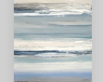 """RESERVED Art, Large Painting, Original Abstract, Acrylic Paintings on Canvas by Ora Birenbaum Titled: Cloudy Skies 6 30x40"""""""