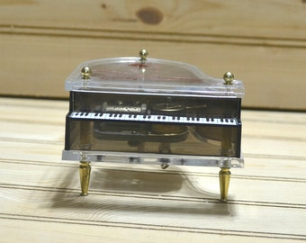 Vintage Schmid Piano Music Box Musical Collectible Anniversary Song 40th Year Gift Mini Made in Hong Kong