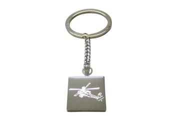 Silver Toned Etched Helicopter Keychain