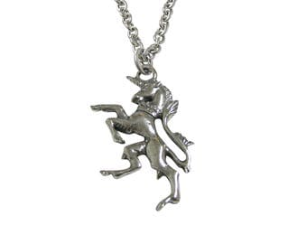 Silver Toned Textured Unicorn Pendant Necklace