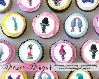 "Trolls Mini Edible Icing Cupcake Toppers - 1.5"" - PRE-CUT - Sheet of 30"