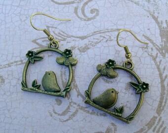 Bird under the cloud:verdigris patina earrings,bronze,dangle,charm earrings