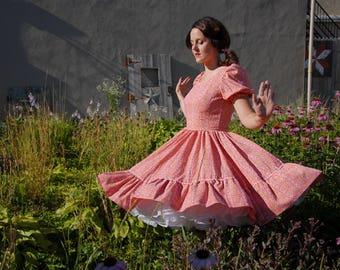 Vintage 1950s orange novelty-print swing dress, square dance western 1940s style M spring SALE
