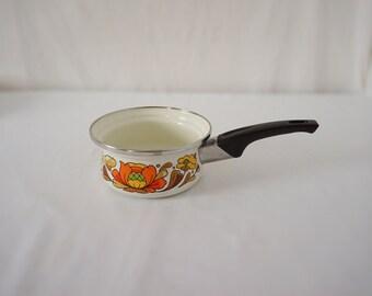 Vintage Pretty Enamel Sauce Pot 70s Kitchen