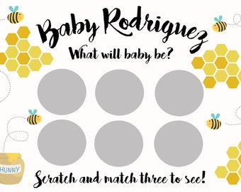 Gender Reveal Scratch-Off Game- What Will Baby Bee? Scratch Off Cards for Gender Reveal