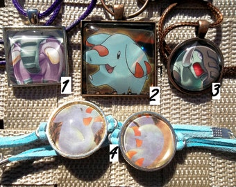 Phanphy and Donphan Glass Pendant made from Trading Cards