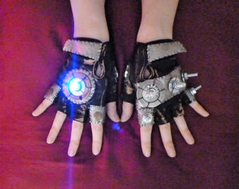 "WOMENS LED ""Thunderdome"" Moonhoar Monster Glove- Burning Man, Mad Max, Dragon Con, Apocalypse, Comicon Fury Road, Steampunk Festival, Sci Fi"