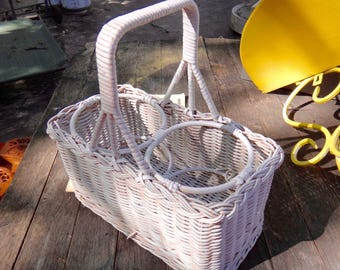 Wine Basket, Wicker Basket, Wine Tote, Bottle Carrier, Picnic Basket, Home Living, Storage, Organization, White Basket, Alfresco, Outdoor