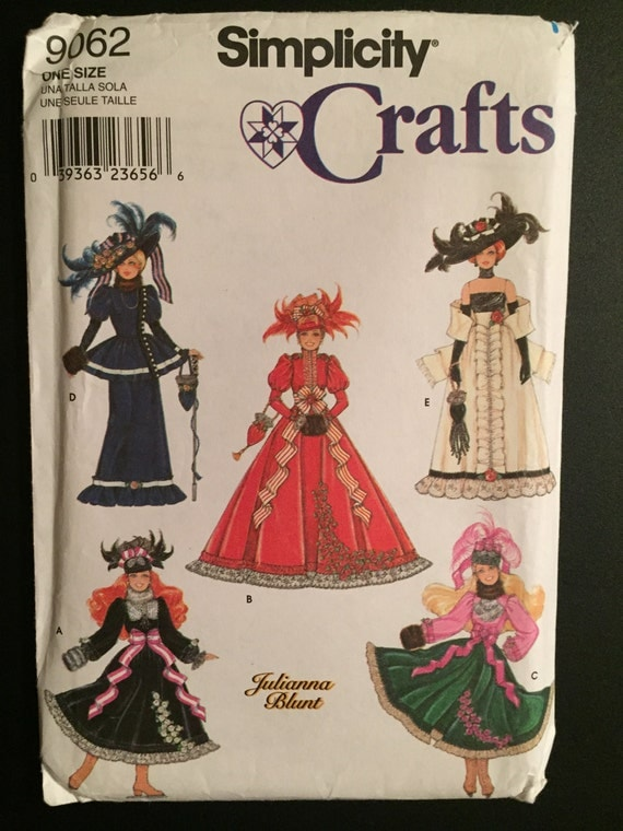 Simplicity Crafts Sewing 90s Pattern 9062 Fashion Doll Barbie Clothes