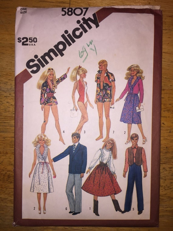 "Simplicity Crafts Sewing Pattern 5807 Wardrobe for 11 1/2"" -12"" Dolls Barbie, Brooke Shields, Ken and GI Joe"