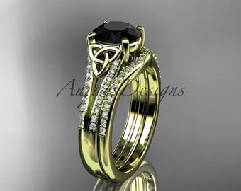 14kt yellow gold celtic trinity knot engagement ring ,diamond wedding ring, engagment set with a Black Diamond center stone CT7108S