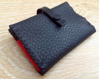 Hand stitched in UK soft black leather money ladies purse with red or dark green divider and coin compartment