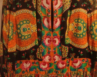 Vintage 1970s Boho Black and Red Long Maxi Multi Colored Dress
