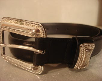 Boho 1990s Vintage Black Leather Belt with Silver Square Buckle