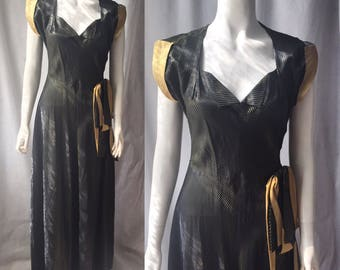 1940s evening gown with chevron stripes