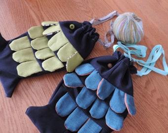 knitting fish bag
