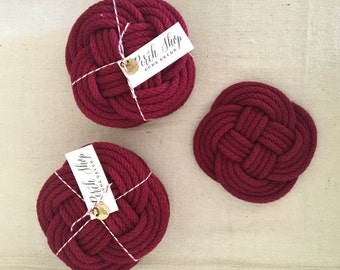 Rope Coasters / cranberry