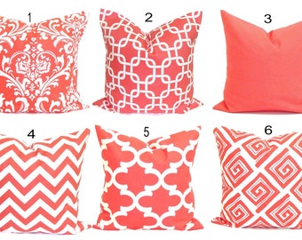 CORAL Pillows.Pillow Cover, Decorative Pillow, Coral Throw Pillow, Coral Pillows, Accent Pillow,Coral Euro, Coral Cushion, Sham, All Sizes