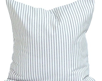 Ticking Stripe Pillow Covers, 14x14 inch Blue Ticking Decorative Pillow, Navy Throw Pillow, Cushion, . cm,French Country.Navy Blue Ticking