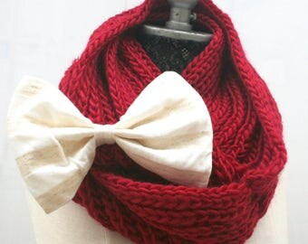 Red knit snood scarf, red cowl bow scarf, hand knit infinity scarf, woman birthday unique gift for women, Christmas knit stocking stuffers
