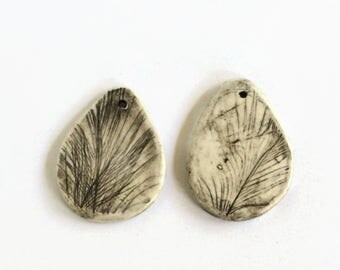 Artisan ceramic pendant, earring pieces, black and white feather ceramic pendant, textured black white clay earrings, feather clay earrings