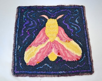"""12"""" x 12"""" Hooked Table Mat or Wall Hanging - """"Rosy Maple Moth"""""""