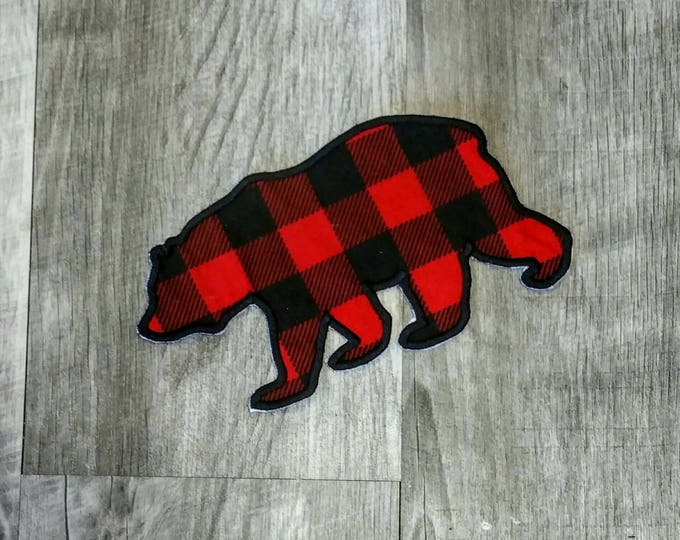 Buffalo plaid bear silhouette iron on applique- machine embroidered fabric patch-DIY boutique fashions