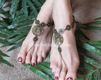 Barefoot Sandals BOHO Ankle Bracelets - Boho Anklets - Toe Ring - Body Jewelry Barefoot Bronze Boho Wedding Shoes SIZED Flats for Bride