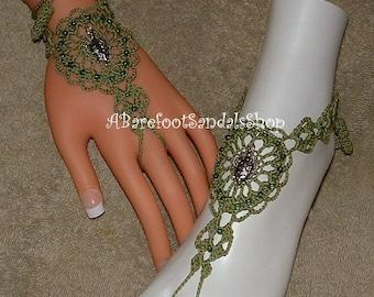 Crochet Barefoot Sandals Beaded Anklet Gift Beachwear Bracelet Ring Turtle Footwear Ankle Shoes Foot Jewelry