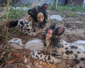 OOAK Posable Art Dolls Spotted Hyena Sphinx Pair