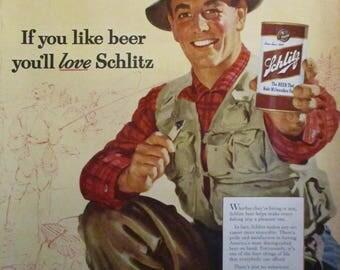 SCHLITZ BEER Vintage 1950s Fisherman Retro Man Cave Decor Alcohol Bar Beer Can Milwaukee Original Vintage Magazine Ad Ready To Frame