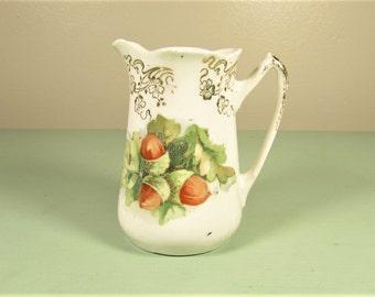 Acorn Cream Pitcher - Vintage Oak Leaf Ceramic Creamer
