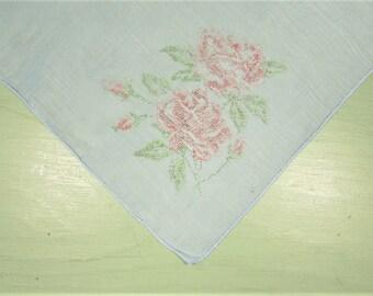 Pink Rose Hankie - Vintage Faux Needlepoint Flower Blue