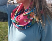 Infinity Scarf: Hot Coral Floral Jersey