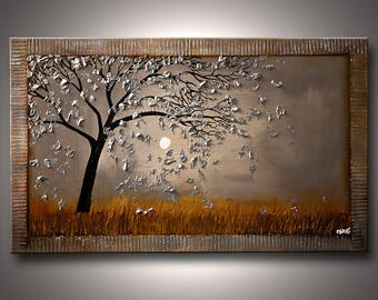 Tree Painting - Canvas Print - Stretched, Embellished & Ready-to-Hang  - Blown in the Wind - Art by Osnat