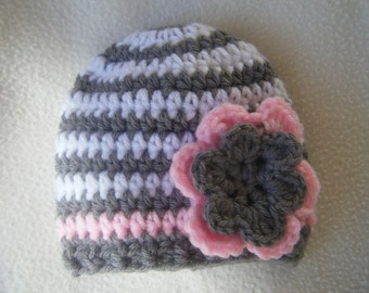 Beautiful Crocheted Grey, White & Pink Baby Girl Hat With Flower- Made to Order