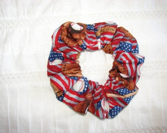 Baseball American flag patriotic fabric Hair Scrunchie, women's accessories, USA scrunchies, red white blue, Americans, United States sports