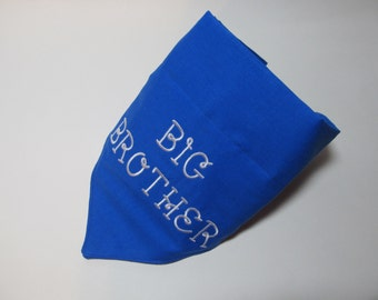 Big Brother Royal Blue Dog Bandana - Over the Collar Style - Makes a Great Gift